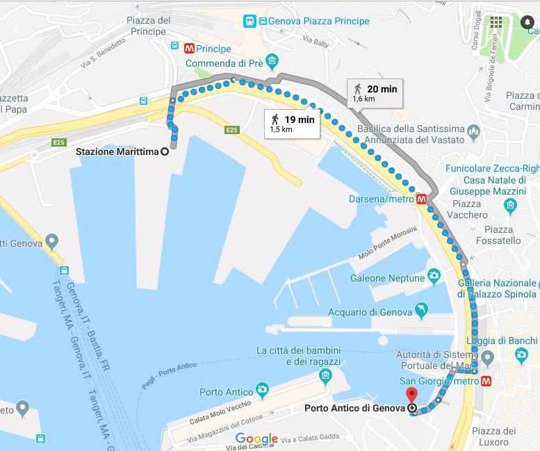 Genova - Percorso pedonale da Stazione Marittima a Porto Antico