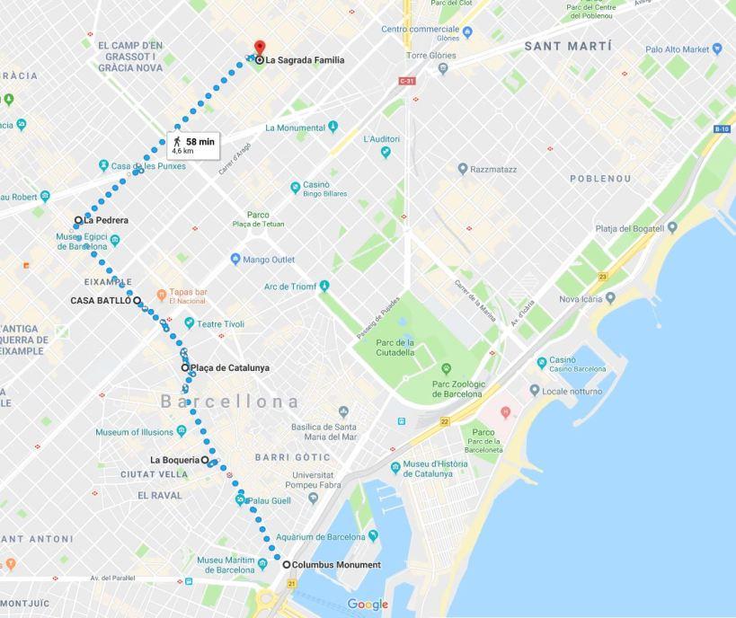 Barcellona - Itinerario a piedi da Monumento a Colombo a La Sagrada Familia